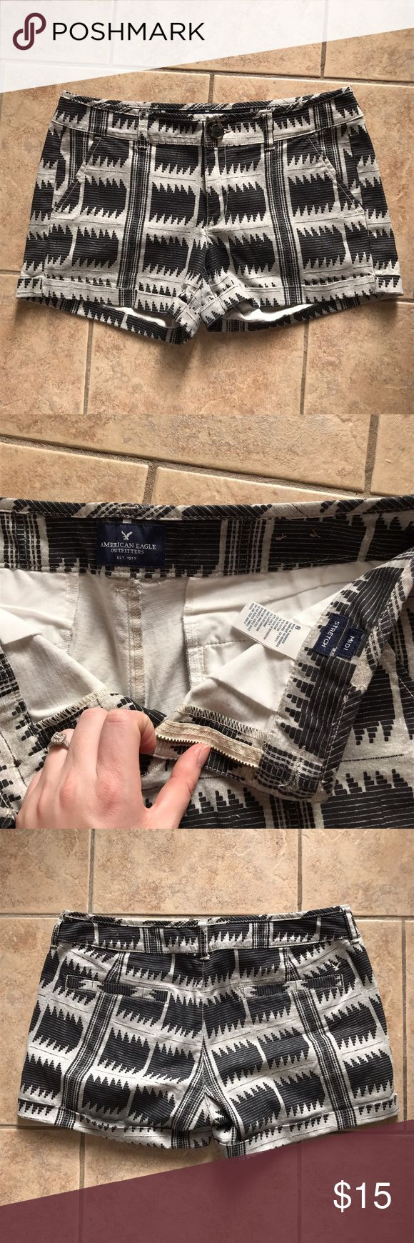 American Eagle Tribal Shorts These shorts are a midi length, and have a black and white tribal print on them. Material is nice and thick, in great condition! American Eagle Outfitters Shorts