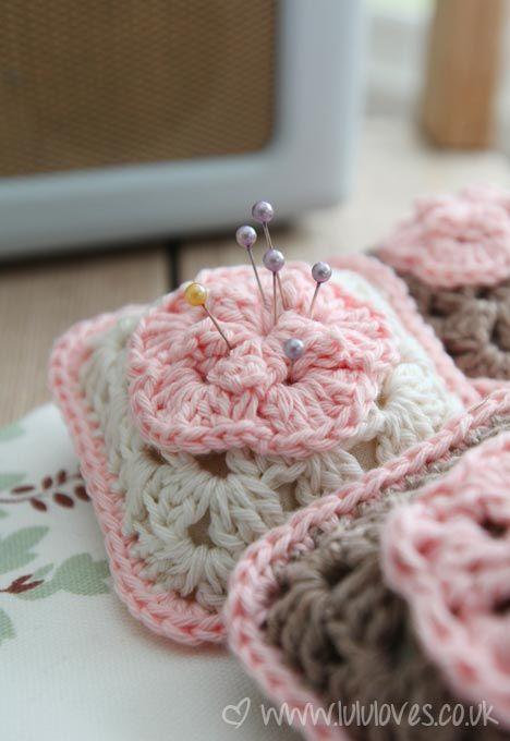 Crochet Granny Square Pincushion Pattern :)