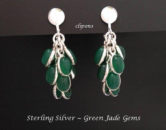 Clip On Earrings: 12 Dangling Green Jade Gemstones in Sterling Silver Clip On Chandelier Earrings- *Shop Now* at https://www.etsy.com/shop/EarringsArtisan #SilverEarrings #DangleEarrings #womensfashion #cliponearrings #chandelierearrings