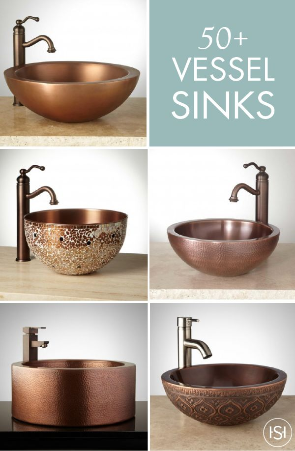 Add one of these stunning vessel sinks from Signature Hardware to your modern guest bath. From rich copper and bronze tones, to artistic details like mosaic, there's a sink to match every style and preference!