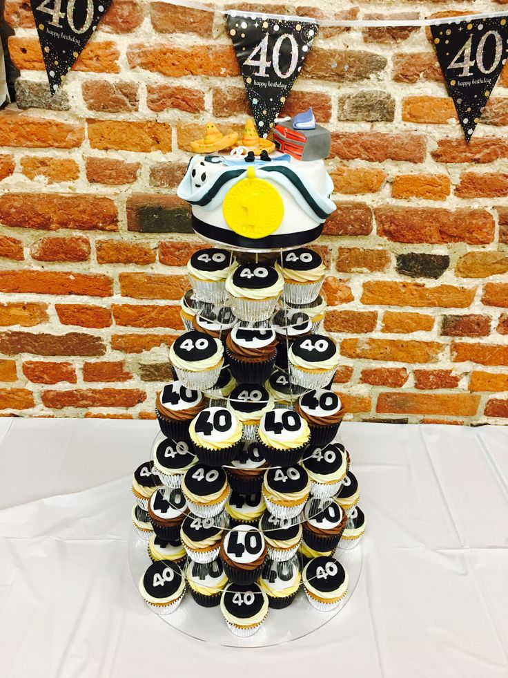 40th birthday cupcake tower for men