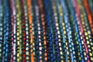 For the rigid heddle - every warp is a different color - weft is black - so pretty, kind of like a rag rug effect for a scarf