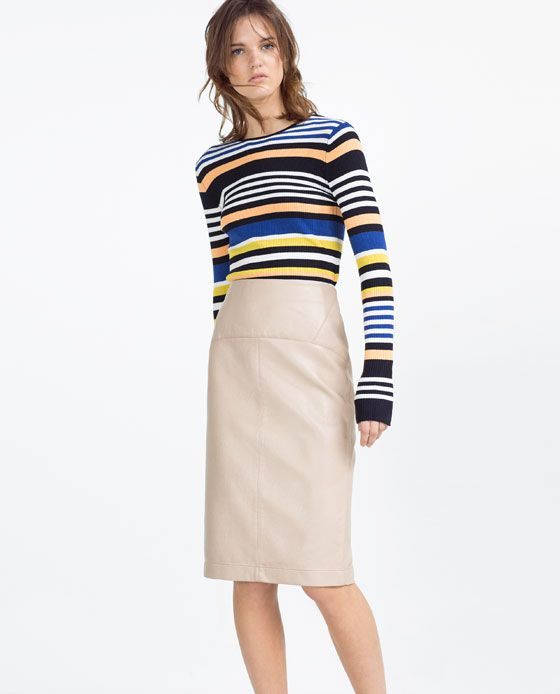 ZARA - WOMAN - FADED FAUX LEATHER PENCIL SKIRT