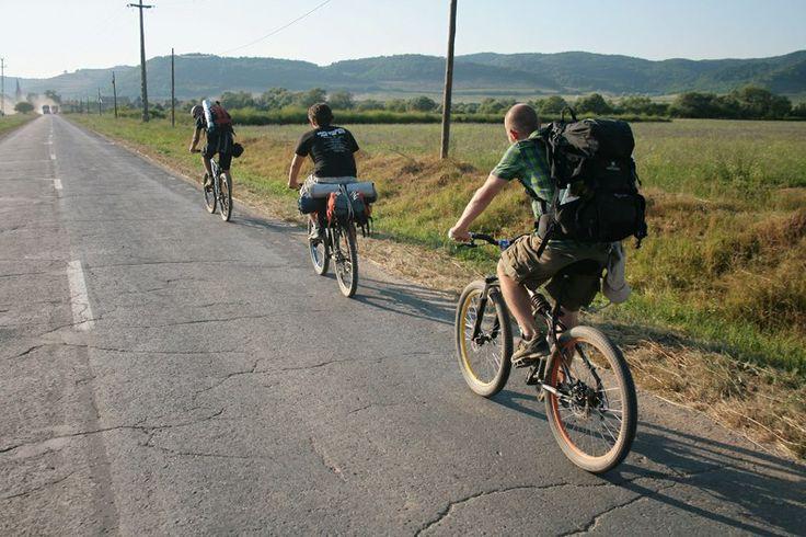 A beautiful trip with bikes in Transylvania, Romania. Here, near Sighisoara, a beautiful medieval city