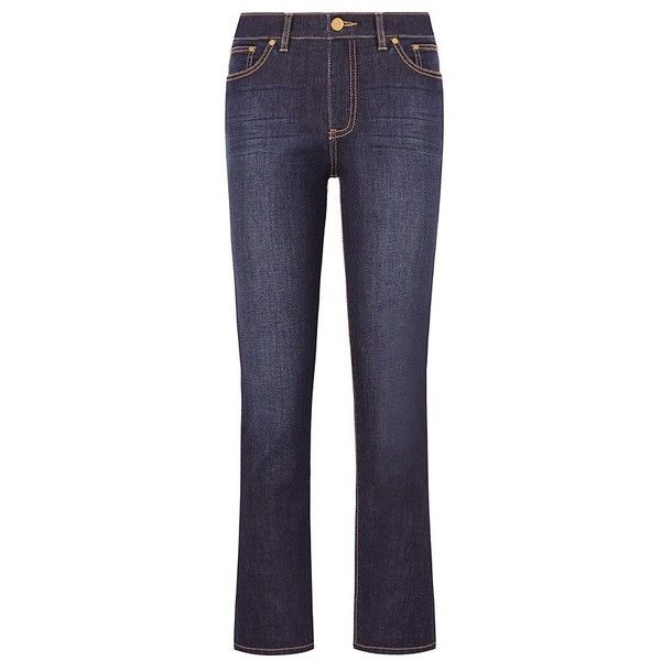 Tory Burch Sandy Cropped Straight-Leg Jean (€175) ❤ liked on Polyvore featuring jeans, pants, tory burch jeans, cigarette leg jeans, stretch blue jeans, super stretch jeans and tory burch