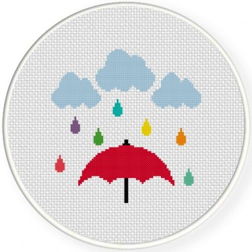 Colorful Rain Handmade Unframed Cross Stitch by CustomCraftJewelry