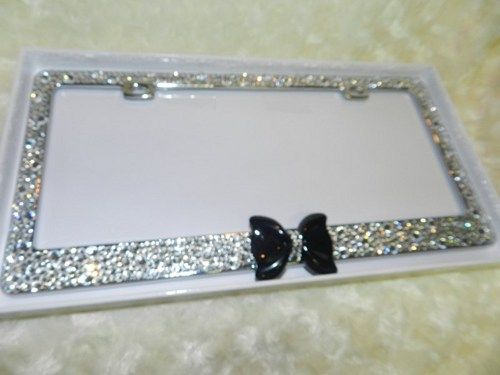 crystallized blings metal license plate frame beautiful xl black bow
