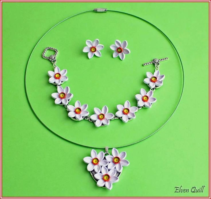 Daffodils set (necklace, earrings, bracelet) - quilling by Elven Quill www.facebook.com/elven.quill