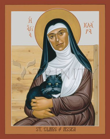 or 28 years Clare was continually ill, and often confined to her bed. Even in bed she insisted on doing her share of work. One legend tells of how she dropped a roll of linen cloth she was sewing, and how it rolled too far from her bed for her to reach. The monastery cat, with which she is pictured in this icon, retrieved the cloth for her so that she could finish the work. Icon by Robert Lentz