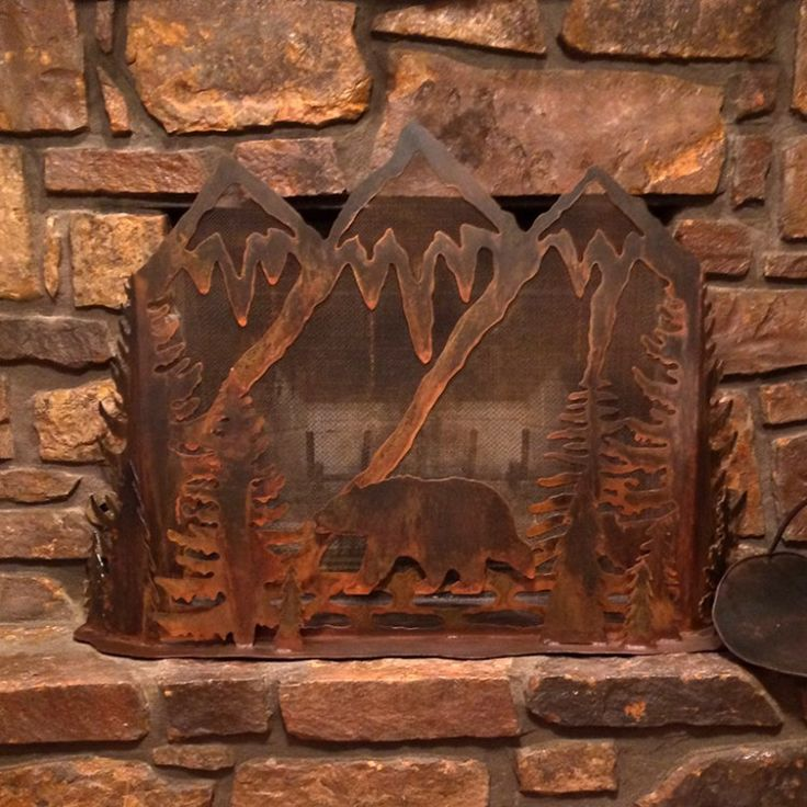 Metal art bear fireplace screen great for indoor or for Rustic bear home decor