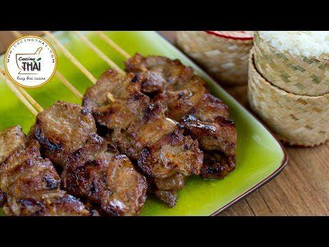 Pinchitos de cerdo con arroz glutinoso   Kwan Homsai