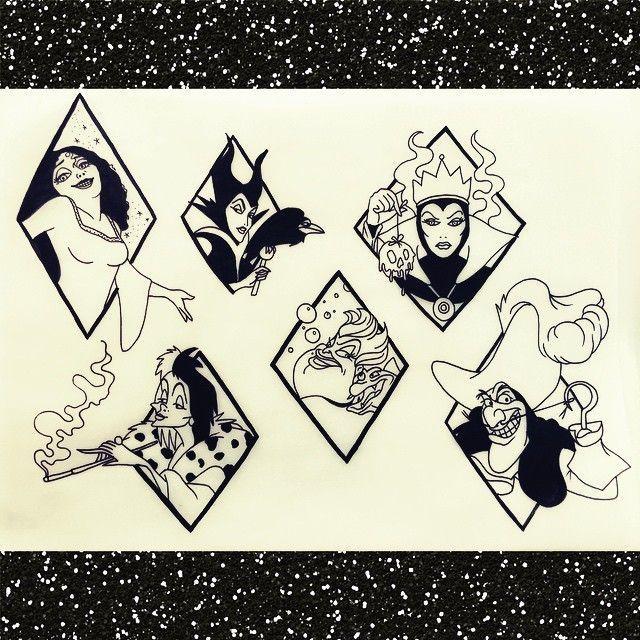 Disney villains – £80 each. Email me! info@frenchiefabu… #tattoo #tattoos #tattooer #tattooist – – #smalltattoos