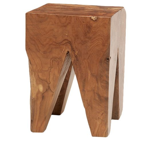 EQ3 Square Teak Accent Stool