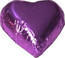 A bag of 100 Purple Foil Chocolate Hearts.