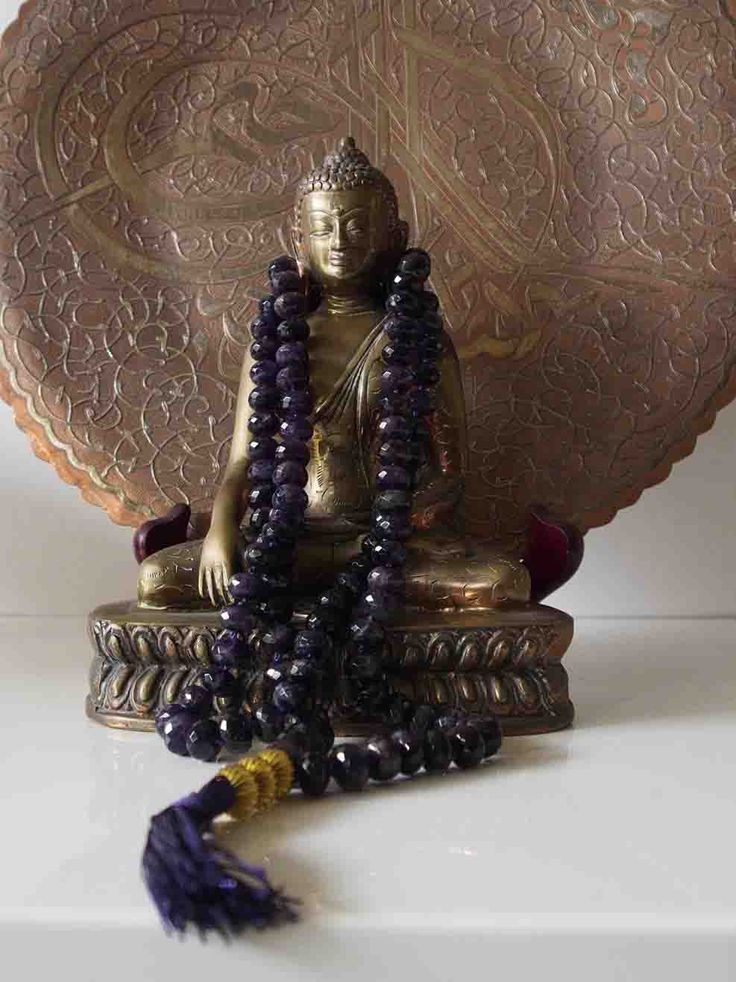 Sally McBride Design AMETHYST Mala comprised of 108 beads 12mm diameter faceted rondels with a gold c