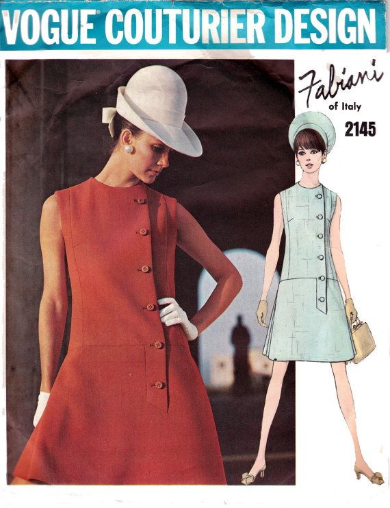 Vogue Couturier Design 2145; ca. 1969; One Piece Dress  Semi-fitted A-line low-waisted sleeveless dress with jewel neckline, has side front