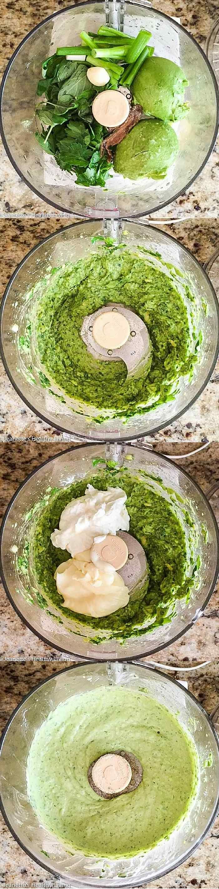 Avocado Greek Yogurt Green Goddess Dip - this light dip, made with fresh avocado and Greek yogurt, is creamy and delicious - serve with an assortment of veggies for your next party ~ http://jeanetteshealthyliving.com