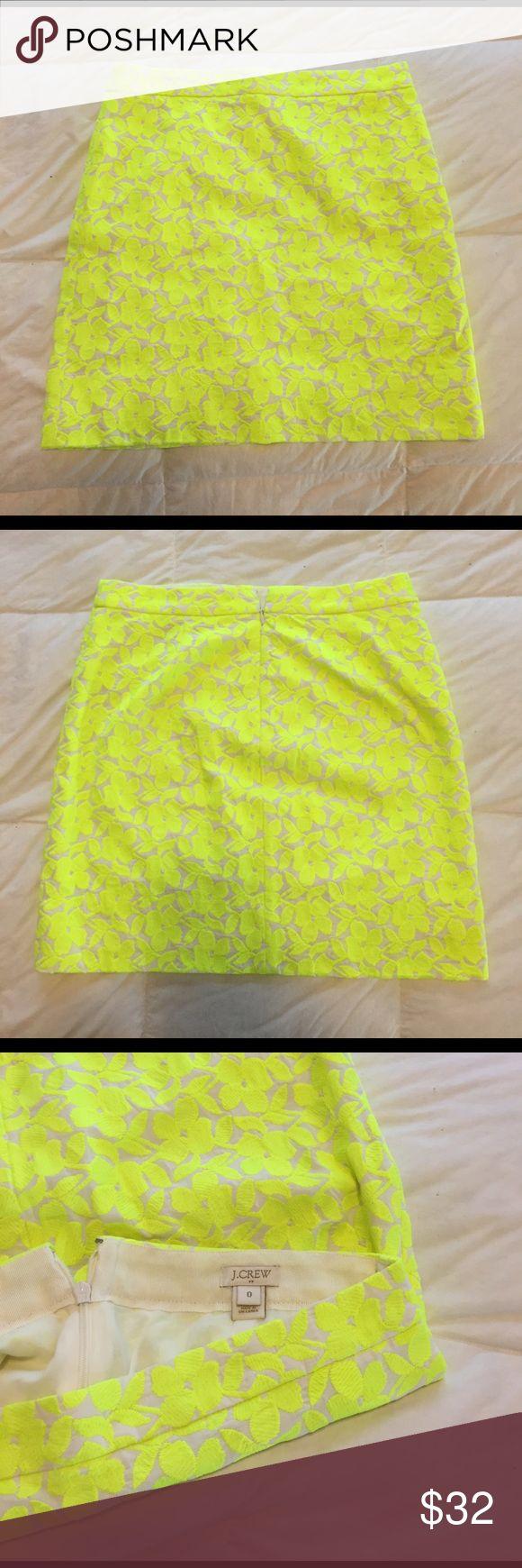 Neon Yellow Floral Skirt Neon Yellow Floral Skirt J. Crew Skirts Pencil