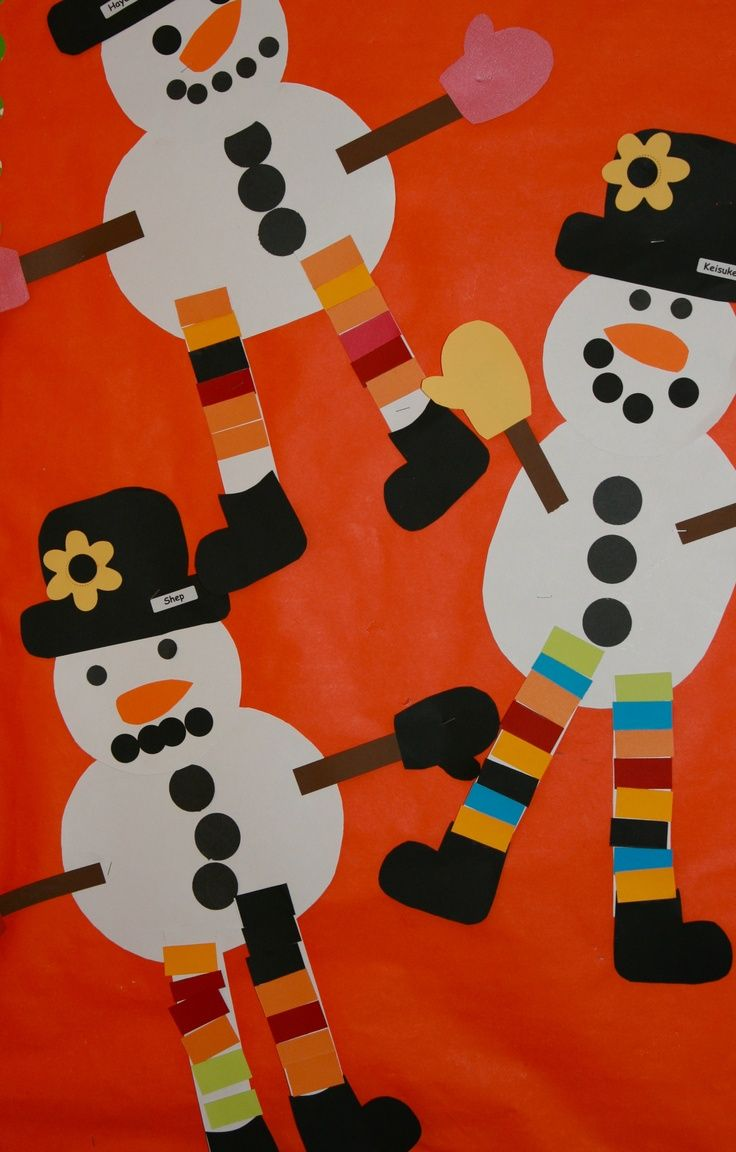 Cute snowman craft for kids to use with the book Snowmen at Night - would make a cute bulletin board!