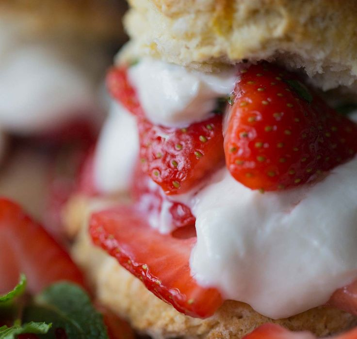 Old School Strawberry Shortcake, made with lightened-up Greek yogurt whipped cream. Maple Hill Creamery