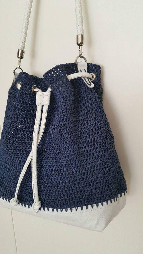 Bucket Bag Backpack Crossbody bag Crochet Handbag by cookieletta More