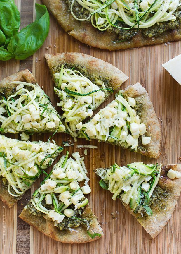 Zucchini, Corn and Pesto Flatbreads - Use the summer's abundance of zucchini and corn in these delicious flatbreads!