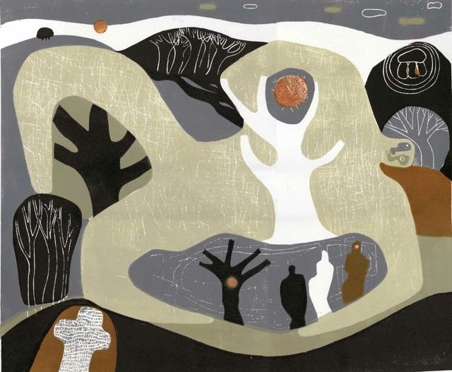 """Last of the Winter Light"" by Melvyn Evans (linocut)"