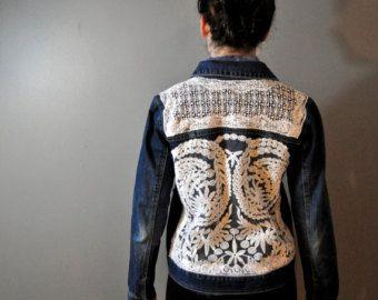 Veste en Jean ombre upcycled main antique par StubbornJeans sur Etsy