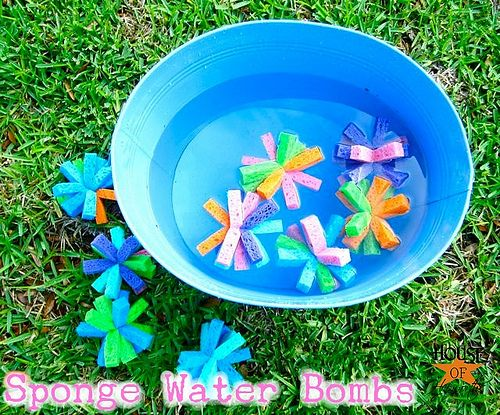 Make your own sponge water bombs!  Super easy and better for the environment than water balloons.  Plus they are reuseable!  Tutorial @ Houe of Hepworths