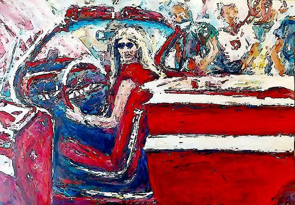 Red Convertible is a modified photograph of the acrylic on archival paper painting by Stanley Funk.  Details:  http://stanley-funk.artistwebsites.com/featured/red-convertible-stanley-funk.html