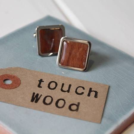 Best presents to buy the groom on your wedding day. Lucky wooden cufflinks, £20 - perfect for a countryside wedding www.handbag.com