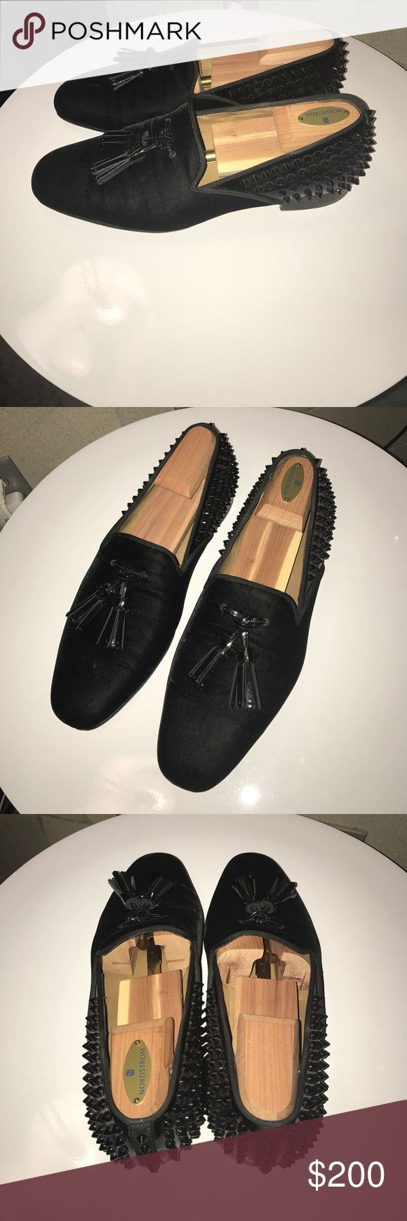 Christian Louboutin black spiked slipped Used Black Louboutin slipper, they have been worn but are still wearable. Not missing any spikes, bottoms have been treated with red rubber, I have the extra spikes and dust bags. Euro size 43 Christian Louboutin Shoes Loafers & Slip-Ons