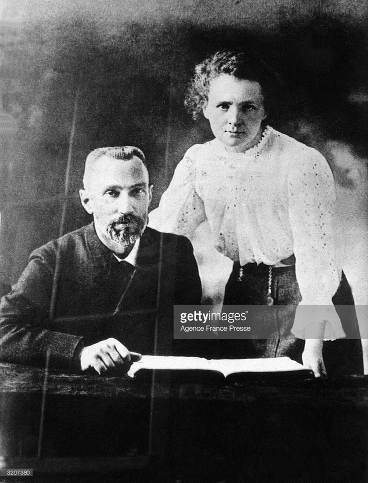 Polish-born chemist Marie Curie (1867 - 1934) posing with her French husband and chemist Pierre Curie (1859 - 1906).