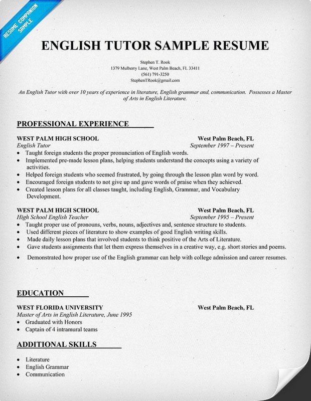 Resume Example for English Tutor #teacher #teachers #tutor - sample resume for teacher position