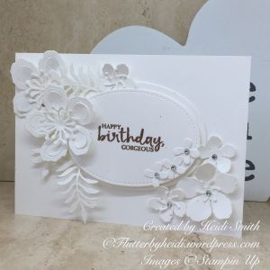 Winter white botanicals card by Flutterbyheidi Heidi Smith Stampin Up U.K. Demonstrator