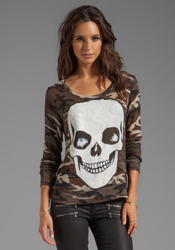 LAUREN MOSHI Margaret Skull Face Long Sleeve Sweater in Camo at Revolve Clothing