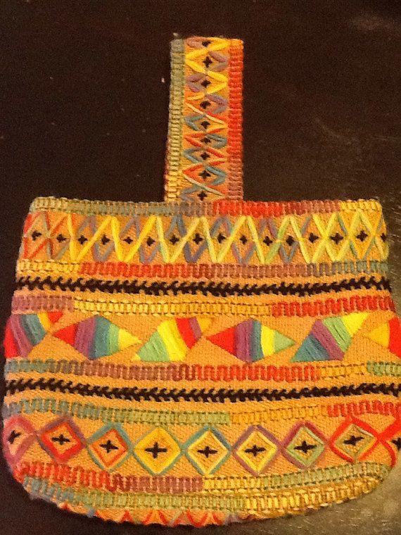 Guatemalen Rainbow Embroidered Burlap Tote Bag Handbag - FREE USA SHIPPING