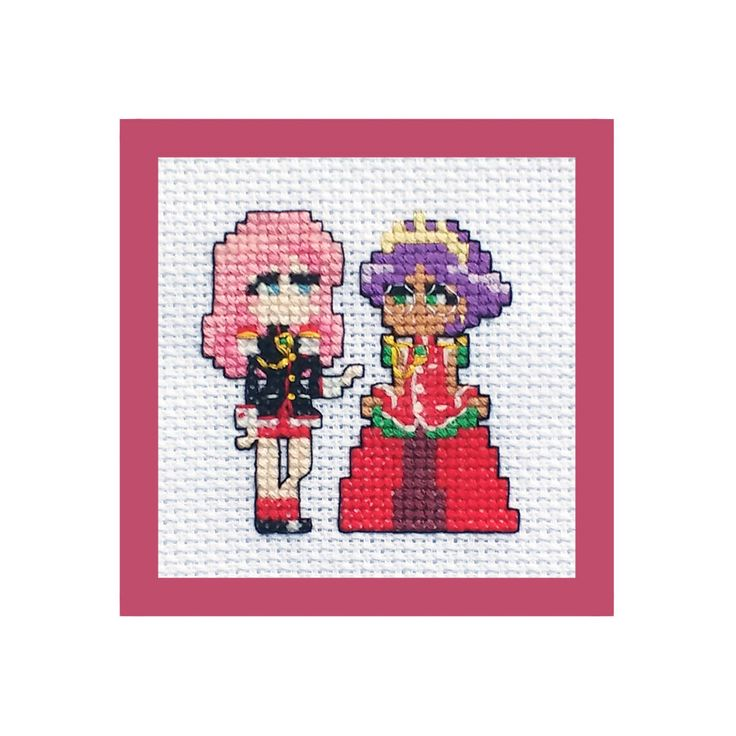 #crossstitch #pattern #lakeviewneedlework #anime #utena Revolutionary Girl Utena Anime Cross Stitch PDF Pattern, Embroidery DIYs, Anthy Himemiya, Rose Bride, Chibi Characters, Pink and Purple Hair by LakeviewNeedlework on Etsy