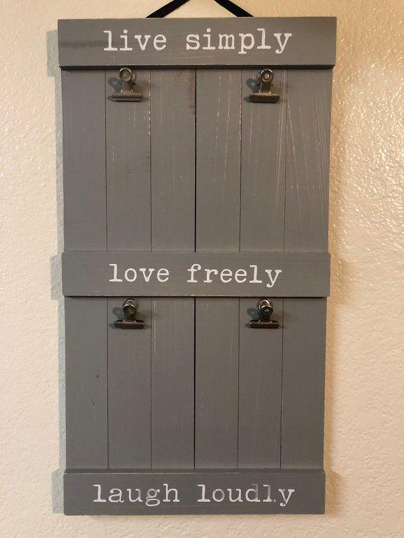 Maison Wood Picture Frame W Clip Hangers Esty Shop Owners Lets
