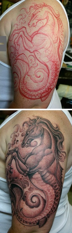Corey Miller: Hand sketching, then straight to the ink. Only the King of Tattoos could pull off something this good.