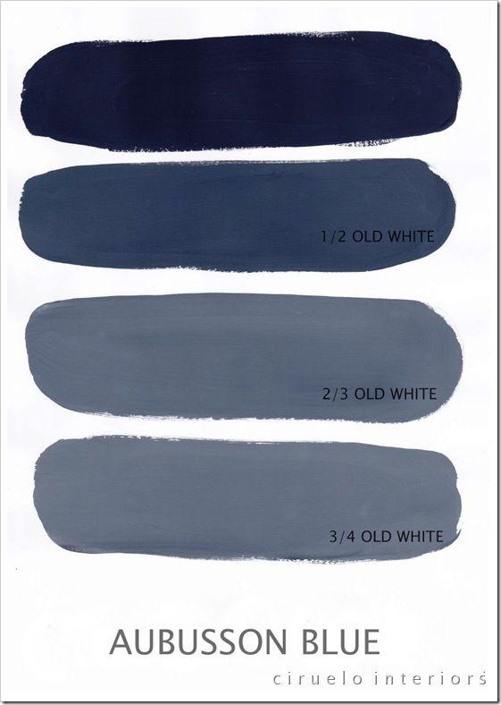 Les possibilites d'Aubusson Blue Chalk Paint™ peinture décorative par Annie Sloan mélangé avec Old White