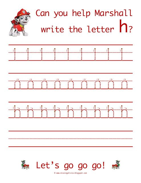 Learn to write the lowercase letter h with Ryder from Paw Patrol! Life As A Moore...: The Letter H...