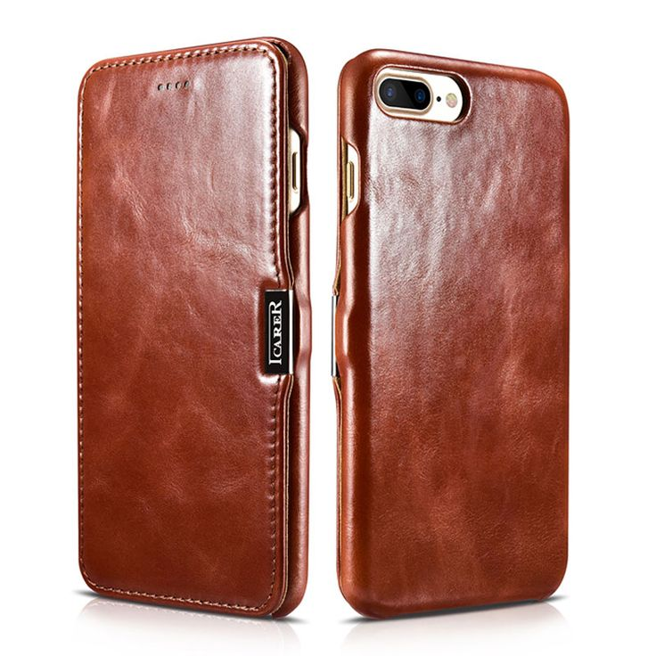 ICARER Genuine Leather Case for iPhone 7 / 7 Plus Mobile Phone Folio Cover Side Open Flip Case for Apple iPhone 7 4.7 5.5 Inch