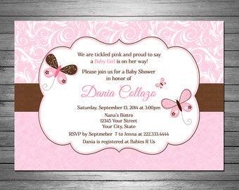 Butterflies Baby Shower Invitations Pink Linen Vintage