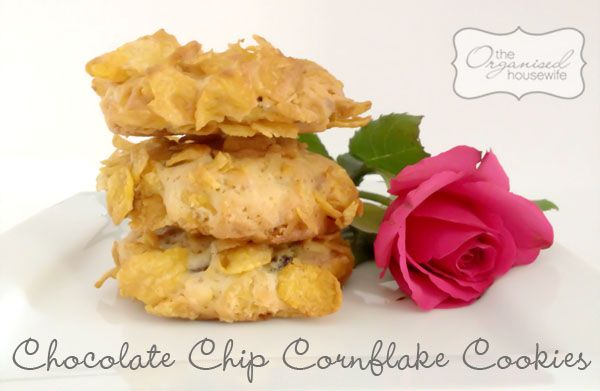 Crunchy Chocolate Chip Cornflake Cookies. Organised Housewife web page is the best!