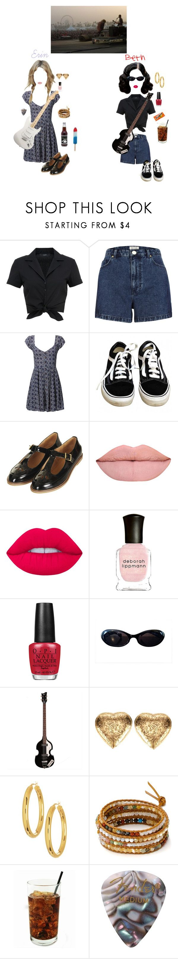 """""""Summer Concert-Erin and Beth"""" by queen-of-rock-n-roll ❤ liked on Polyvore featuring Hallhuber, River Island, Brave Soul, Vans, Topshop, Lime Crime, Deborah Lippmann, OPI, Gucci and Yves Saint Laurent"""