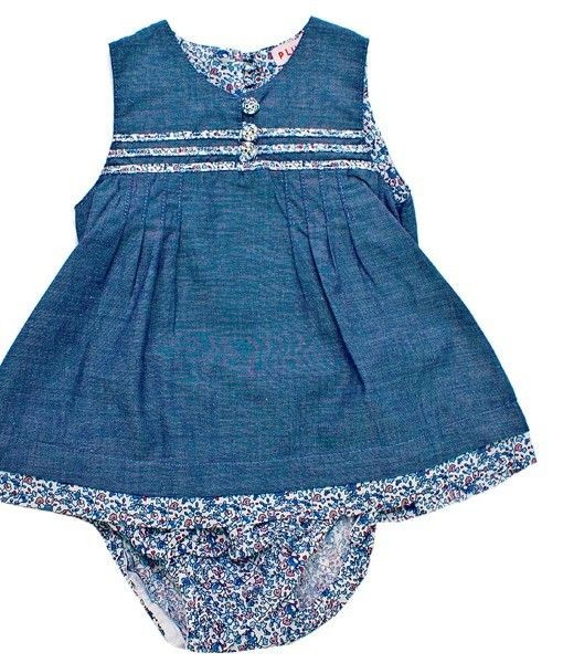 Cotton chambray dress with matching floral bloomer/pants  Available in sizes 3-6months, 6-12months and 12-18months