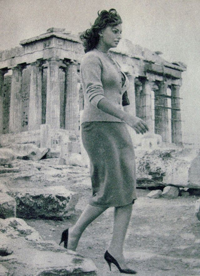 Sophia Loren at Acropolis in 1954. Okay, I have been there and have NO idea how you could climb to Acropolis and walk around in heels!
