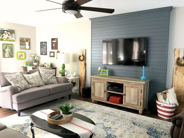 Wood Plank Tv Wall Living Room Wall Decor Around Tv Pallet Accent Wall