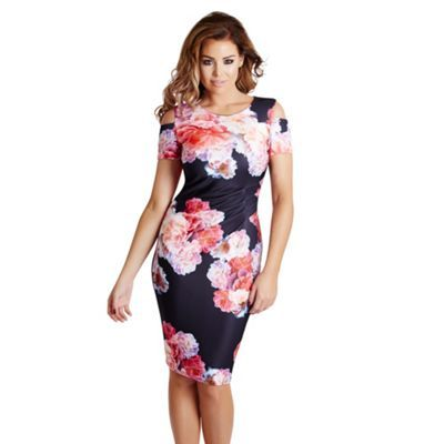 Jessica Wright Floral print 'Avery' cold shoulder bodycon dress- | Debenhams